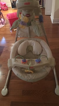 baby's gray and white Fisher-Price cradle 'n swing Laval, H7M 5S7