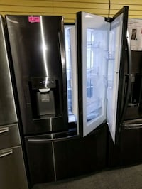 "LG 36""wide new open box French door dark stainless steel refrigerator"