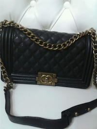 quilted black Chanel leather crossbody bag