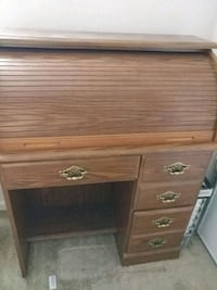 brown wooden roll-top desk Indianapolis, 46240