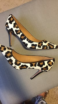 White black and brown leopard print pointed toe stilettos