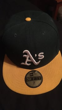 black, yellow, and white A's embroidered New Era 59Fifty snapback cap Bolton, L7E 1J2