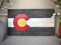 (New) Large Rustic Wood Colorado Flag Broomfield, 80021