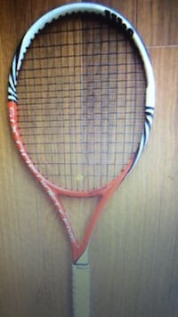 white red and black badminton racket