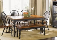 Farmhouse Dining Table, Black & Oak, with Bench and 2 Chairs Washington, 20002