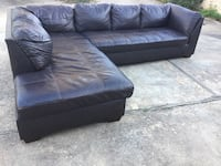black leather tufted sectional sofa Austin, 78758