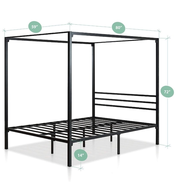 factory price a73ee c6f80 NEW Zinus QUEEN Metal Framed Canopy Four Poster Platform Bed Frame