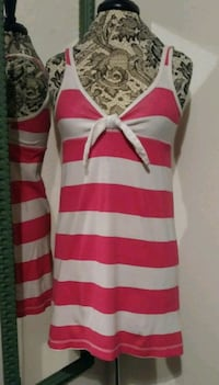 Pink & White Stripe Tie Front Cotton Mini Dress Sz Las Vegas, 89108