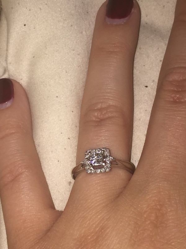 bb287b57af200 1/4 CT. T.W. Princess-Cut Quad Diamond Promise Ring in 10K White Gold- Size  5