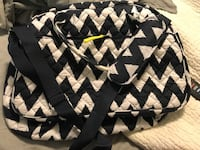 Navy/white chevron quilted overnight bag