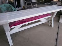 white and red wooden table