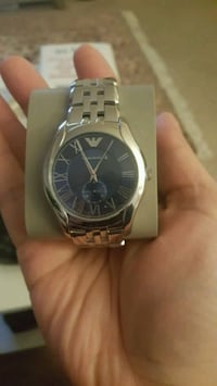 Armani round analog watch with link bracelet