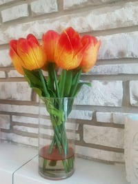 Faux flowers in vase home decor