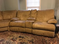 brown leather 3-seat recliner sofa, used condition, some tears and stains but still very comfortable, open to negotiation, must pick up