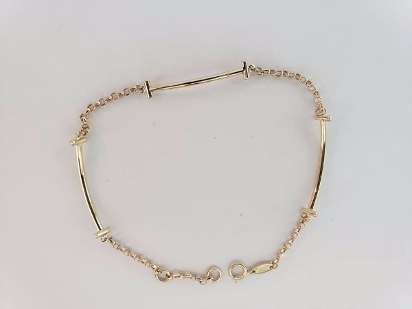 10k Yellow Gold Bar Section Bracelet c343b27e-b9c5-4ca9-80b0-d5e76ba8fe82