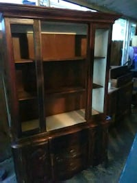 brown wooden TV hutch with cabinet Barstow, 92311