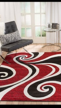black, white, and red area rug Burke, 22015