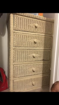 White wicker dresser and 2 side tables
