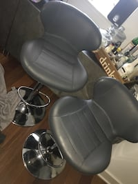 Pair of Grey and Chrome Bar Stools