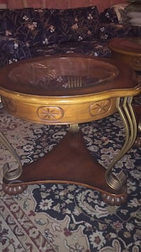 Brown wooden framed glass top coffee table Guelph, N1E 7K3