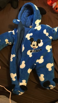 baby's blue and white Mickey footie pajama