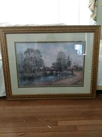 Painting of farm and pond in gold decorative frame Catonsville, 21228