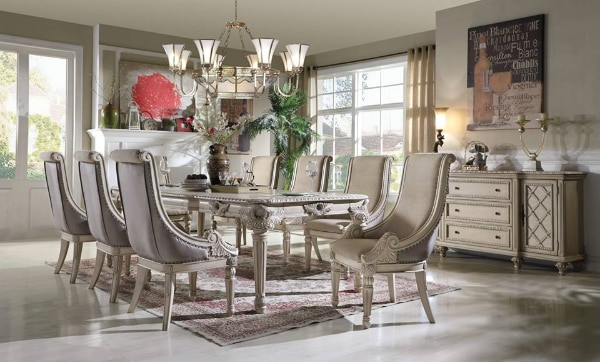 58063646f9 Traditional Antique White Finish W/ Silver Brush Dining Set 7Pcs FORMAL DINING  TABLE SET