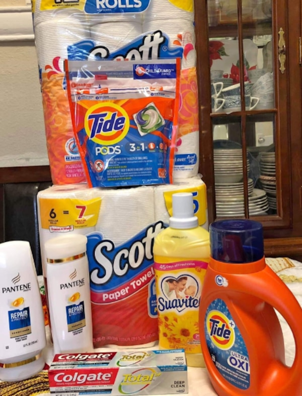Bundles packages of household items
