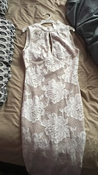 women's beige and brown floral sleeveless bodycon dress