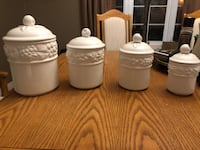 SET OF WHITE CERAMIC CANISTERS
