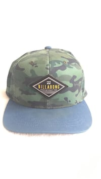green, black, and beige Billabong camouflage fitted hat