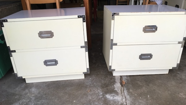 Used Vintage Dixie Furniture Co Campaign Style Nightstands For Sale