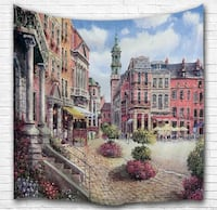 EUROPEAN CITY OIL PAINTING HOME WALL HANGING TAPESTRY NEW Victoria