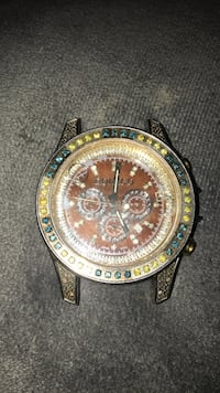 Round gold chronograph watch with black leather strap Detroit, 48201