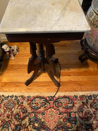 Antique table . End table or foyer table  marble top wooden base Reston, 20191