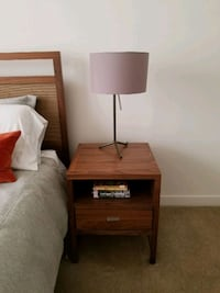 2 brown wooden 2-drawer nightstand Alexandria