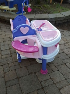 Baby doll crib, high chair and bath toy