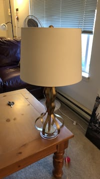 Brown wooden base white shade table lamp Portland, 97215