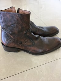Kenneth cole brown leather distressed style dress boots