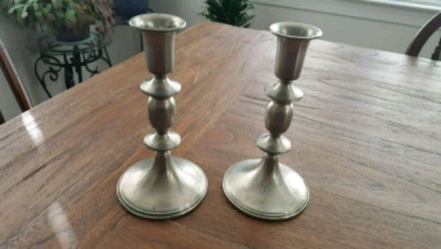 Vintage pewter candle sticks used 0