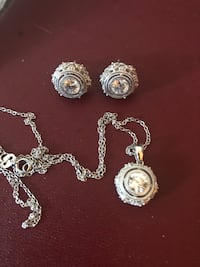 Silver and cz earrings and necklace  Toronto, M6G 1M4