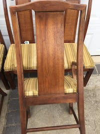 four brown wooden framed brown padded chairs Suitland, 20746