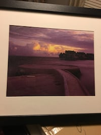 Painting of village in body of water under sunset with black wooden frame Mint Hill, 28227