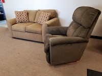 Brown Loveseat Couch and Green LaZBoy Recliner Chair Set  Denver, 80234