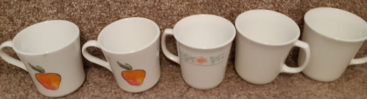 5 Corelle Corning Ware Assorted Coffee Cup/Mug  Pick-up in Newmarket  (Ref # offtovv)