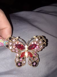 ruby and pink cubic zirconia embellished gold-colored butterfly brooch East Orange, 07017