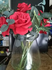 Fake Roses in glass vase