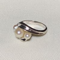 Vintage 10k White Gold Genuine Pearl Ring Ashburn
