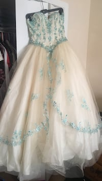 White and blue strapless sweetheart sheer bridal gown Smyrna, 30082