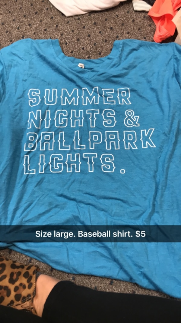 02608dde1477 Used blue Summer Nights   Ballpark Lights printed crew-neck shirt for sale  in Van Buren - letgo
